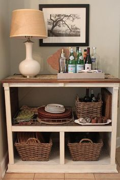Take OUT Dresser Drawers and make it into a Hallway or Bedside Table or... a Bar and even an Entertainment area that will hold all of your treasures ( or needs ) , Baskets look wonderful in open slots.