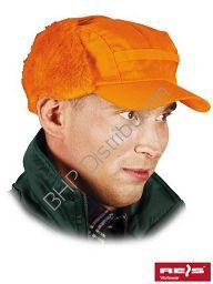 Pomarańczowa czapka uszanka zimowa CZO