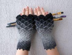 Crocheted crocodile stitch mittens fingerless gloves by mareshop