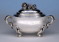 Georg Jensen Sterling Silver Sugar Bowl/ Bonbonnière, c. 1950.  1/3