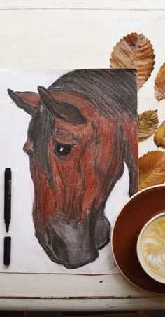 horse. pastels. artist. coffee. autumn. in the moss.