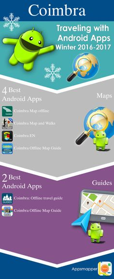 Coimbra Android apps: Travel Guides, Maps, Transportation, Biking, Museums, Parking, Sport and apps for Students.