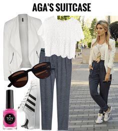 Aga nos describe su look como Sporty and Chic, en el que juega con texturas y estampados para crear un look cómodo pero con toques de elegancia.