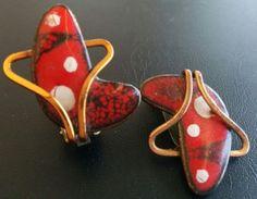 Matisse Vintage Earrings Copper Moon Crescent Red Enamel