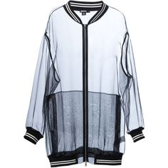 DKNY transparent bomber jacket (3,300 EGP) ❤ liked on Polyvore featuring outerwear, jackets, tops, coats, coats & jackets, bomber jacket, sheer jacket, dkny jackets, cotton jacket and black flight jacket