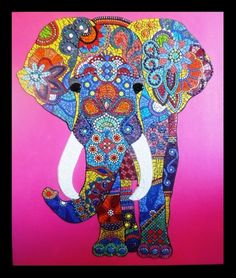 """ELEPHANT by julee latimer. steel frame, 56"""" x 48"""". Painted cement background."""