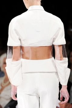 Transparency - white jacket with transparent plastic panels - structured silhouette; fashion details: Transparency - white jacket with transparent plastic panels - structured silhouette; Fashion Week, Runway Fashion, Fashion Art, Fashion Show, Womens Fashion, Fashion Design, Fashion Trends, Space Fashion, Fall Fashion