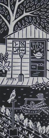 Gail Kelly, lino print on linen