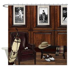 Shop Country Club Shower Curtain designed by Enloe's Vintage Road. Lots of different size and color combinations to choose from. Custom Shower Curtains, Bathroom Shower Curtains, Fabric Shower Curtains, Golf Bar, Golf Theme, Shower Rod, Color Combinations, Yacht Club