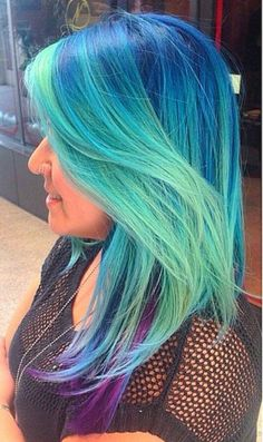 Green blue ombre dyed pastel hair