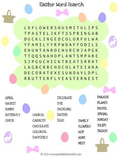 Printable Spring Easter Word Search from PrintableTreats.com