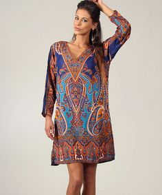 Take a look at this Blue & Turquoise Paisley V-Neck Tunic by Kushi by Jasko on #zulily today!