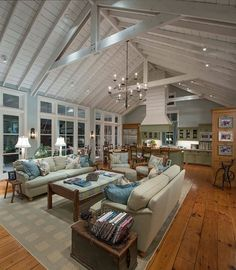 Open concept with gorgeous ceiling and flooring.  #greatrooms homechanneltv.com