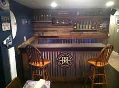Low cost corrugated steel and pallet wood home bar