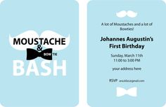 Moustache and Bowtie Birthday Party Invitation by AnaKlizs on Etsy, $15.00