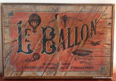 Vintage Paris hot air balloon sign on reclaimed wood by EchoandBen