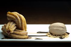 Churros Rellenos con Dulce de Leche: Caramel-Filled Fried Dough, and House Made Mexican Chocolate Ice Cream