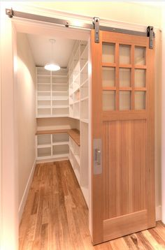 Sliding door to the pantry with lock. Have a blackboard of menu for the week behind door to utilize space