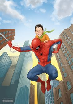 Spidey and friend by GeorgeD on DeviantArt Cute Kids, Spiderman, Deviantart, Superhero, Friends, Fun, Cartoons, Painting, Illustrations