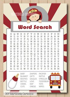 firefighter baby shower word search game by martinelacartoons