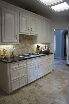 Travertine Tile color Tiramisu Flooring and Backsplash for Kitchen Remodel