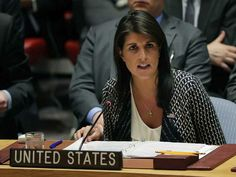 4/13/2018 UN & SYRIA: Nikki Haley, U.S. ambassador to the United Nations, speaks during a Security Council meeting, Friday, April 13, 2018, at United Nations headquarters. (AP Photo/Julie Jacobson)