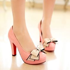 Sweet Candy Colored Low-Cut Bowknot Chunky Heels Shoes