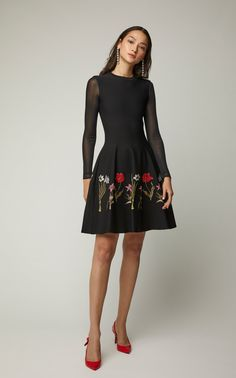 f279b925472 Click Product to Zoom Oscar De La Renta Tulle-Paneled Embroidered Cady Midi Dress  Dress