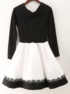 Black White Boat Neck Flare Dress 29.67