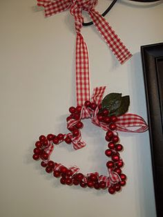 Valentine wreath from leftover Christmas decor