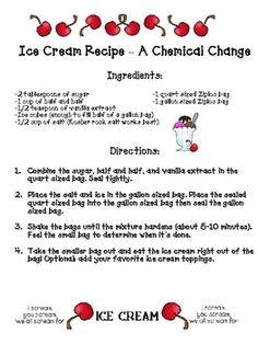 Ice cream chemical change-End of Matter Unit