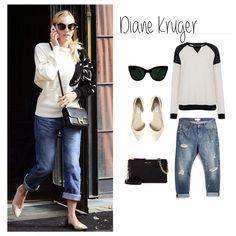 4. Diane Kruger #getthelook Genial idea! Combinar tus jeans boyfriend con complementos super femeninos como las manoletinas o el minibolso de piel ¡Bravo! #boyfriendjeans #streetstyle #ootd #outfit #tagsforlike