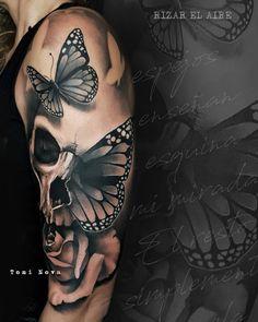 Skull Tattoos 60980 Tattoo artist Toni Nova, color and black&grey portrait tattoo realism, surrealistic tattoo Skull Butterfly Tattoo, Skull Rose Tattoos, Skull Sleeve Tattoos, Skull Tattoo Design, Best Sleeve Tattoos, Sleeve Tattoos For Women, Body Art Tattoos, Tattoos For Guys, Skull Thigh Tattoos
