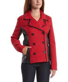 Look at this #zulilyfind! Red & Black Faux Leather-Panel Contour Quilted Peacoat by Dollhouse #zulilyfinds