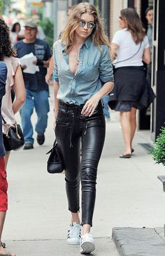 Street style   Denim shirt, black leather pants and adidas sneakers