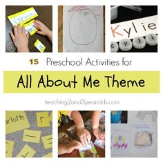 15 preschool activities for the all about me theme from Teaching 2 and 3 Year Olds The All About Me theme is a great way for young children to not only learn and share more about themselves, but also others as well. All About Me Preschool Theme, All About Me Crafts, All About Me Activities, Preschool Themes, Preschool Lessons, Preschool Classroom, Preschool Learning, Classroom Ideas, Daycare Themes