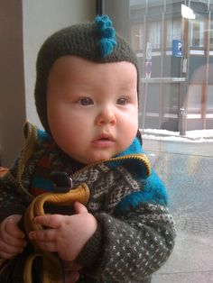 """Albin in his """"Marius"""" jumpsuit - knitted by grandmother Berit!"""