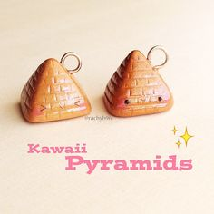 Hey guys!  Here's some kawaii Pyramid charms I made! ✨ I think they turned out super adorable!  Hope you like them! ✌ #polymerclay #cute #kawaii #pyramids
