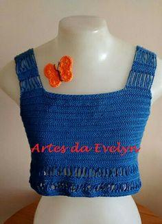 Cropped azul com detalhes nas costas - www.elo7.com.br/lojas/artesdaevelyn