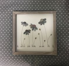 Pebble Art Flower Picture; ideal & unique gift for retirement, Mum or friend; everlasting bespoke unique gift made to order