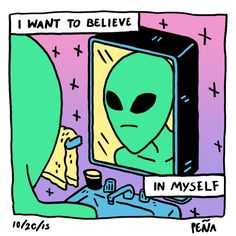 #Write this alien's jouska as he stares at himself in the mirror. #WritersRelief