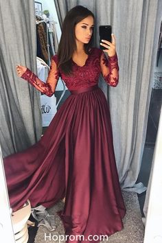 Burgundy Long Sleeves A Line Prom Dresses Evening Dresses