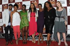 MIDDLE OF NOWHERE's director Ava DuVernay with cast Omari Hardwick, Edwina Findley, Emayatzy Corinealdi, Lorraine Toussaint, and Sharon Lawrence with honorary LA Film Fest gala host, Angela Bassett