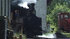 LUNZ, AUSTRIA - JULY 16: Steam locomotive leaving shed on July 16, 2006 in Lunz, Austria.