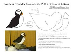 felt birds In Maine, the Atlantic Puffin resides on a few islands off the coast. Almost gone from Maine in the early century, their populations are now thriving or stable due to the he Felt Ornaments Patterns, Felt Patterns, Bird Patterns, Craft Patterns, Felt Crafts Diy, Bird Crafts, Felt Diy, Needle Felting Tutorials, Felt Christmas Ornaments