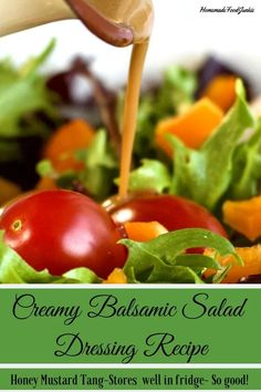 A Refreshing, tangy homemade salad dressing with a bit of sweet. This dressing m… A Refreshing, tangy homemade salad dressing with a bit of sweet. This dressing makes a flavorful, healthy, gluten free addition to your green salad. Honey Mustard Salad Dressing, Salad With Balsamic Dressing, Salad Dressing Recipes, Salad Dressings, Salad Recipes Low Carb, Side Dish Recipes, Keto Recipes, Side Dishes, Healthy Recipes