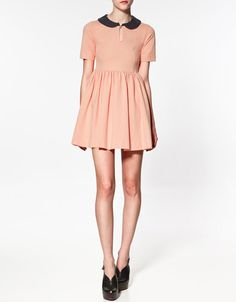contrasting collar dress ++ zara