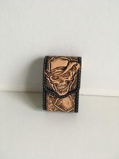 Etui pour paquet de cigarettes en cuir repoussé motifs: ghost rider : Etuis, mini sacs par lakota-cuir