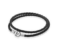 Double Bracelet Tressé en Cuir - Noir