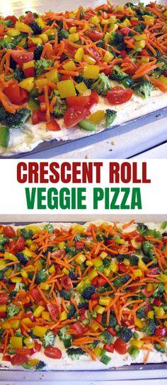 Veggie Pizza Pillsbury Crescent Rolls Recipe! This veggie pizza made with Pillsbury Crescent Rolls is a sneaky way to get kids to eat their veggies!